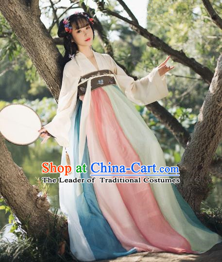 Traditional Chinese Tang Dynasty Palace Princess Hanfu Clothing Ancient Young Lady Embroidered Costume for Women