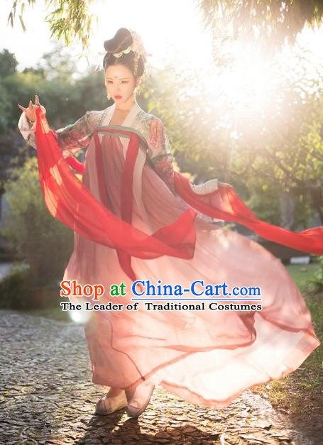 Traditional Chinese Ancient Imperial Concubine Hanfu Clothing Tang Dynasty Palace Lady Embroidered Costume for Women