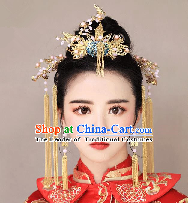 Chinese Traditional Bride Hair Jewelry Accessories Palace Xiuhe Suit Tassel Hairpins Wedding Blueing Phoenix Coronet for Women