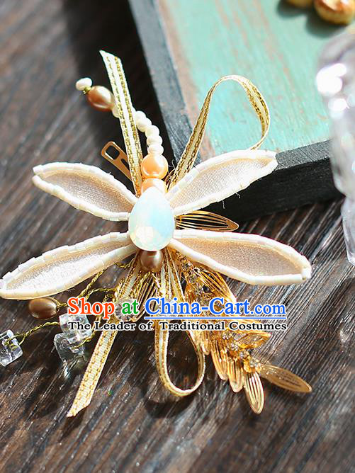 Chinese Traditional Bride Hair Jewelry Accessories Wedding Baroque Retro Dragonfly Hair Stick for Women