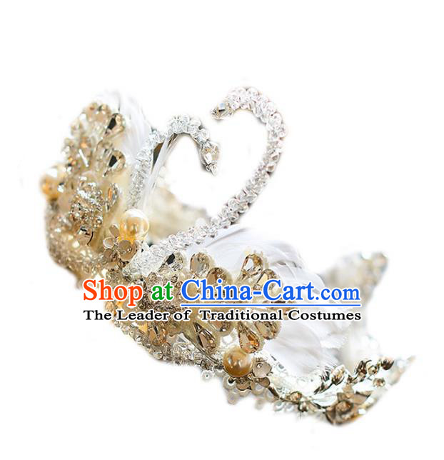 Chinese Traditional Bride Hair Accessories Baroque Princess Hair Clasp Wedding Crystal Swan Royal Crown for Women