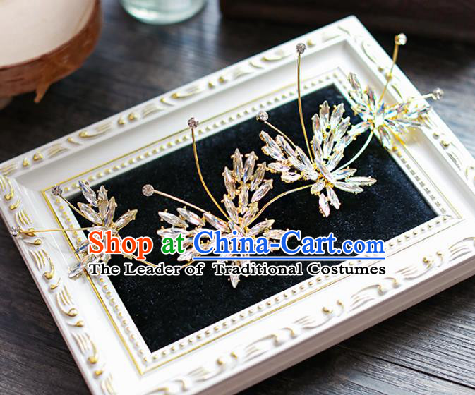 Chinese Traditional Bride Hair Jewelry Accessories Wedding Baroque Retro Crystal Hair Stick for Women