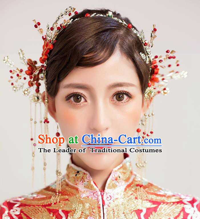 Chinese Traditional Bride Hair Jewelry Accessories Palace Xiuhe Suit Chinese Knots Hairpins Wedding Tassel Phoenix Coronet for Women