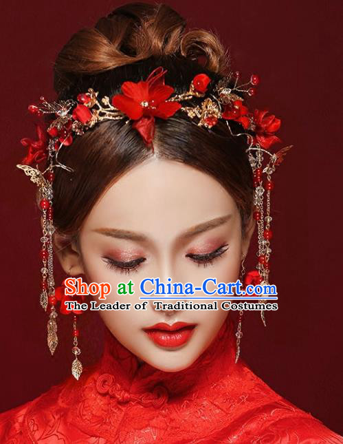 Chinese Traditional Bride Hair Jewelry Accessories Palace Xiuhe Suit Red Flowers Hairpins Wedding Tassel Phoenix Coronet for Women