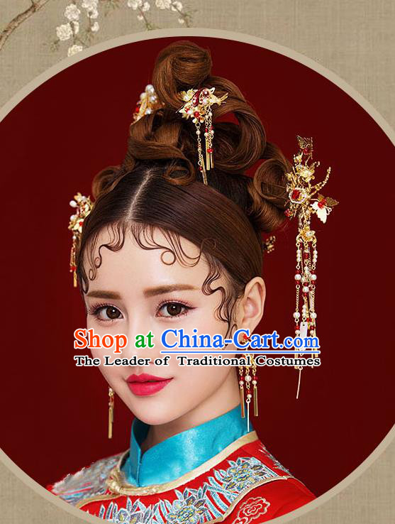 Chinese Traditional Bride Hair Jewelry Accessories Palace Xiuhe Suit Red Crystal Hairpins Wedding Tassel Phoenix Coronet for Women