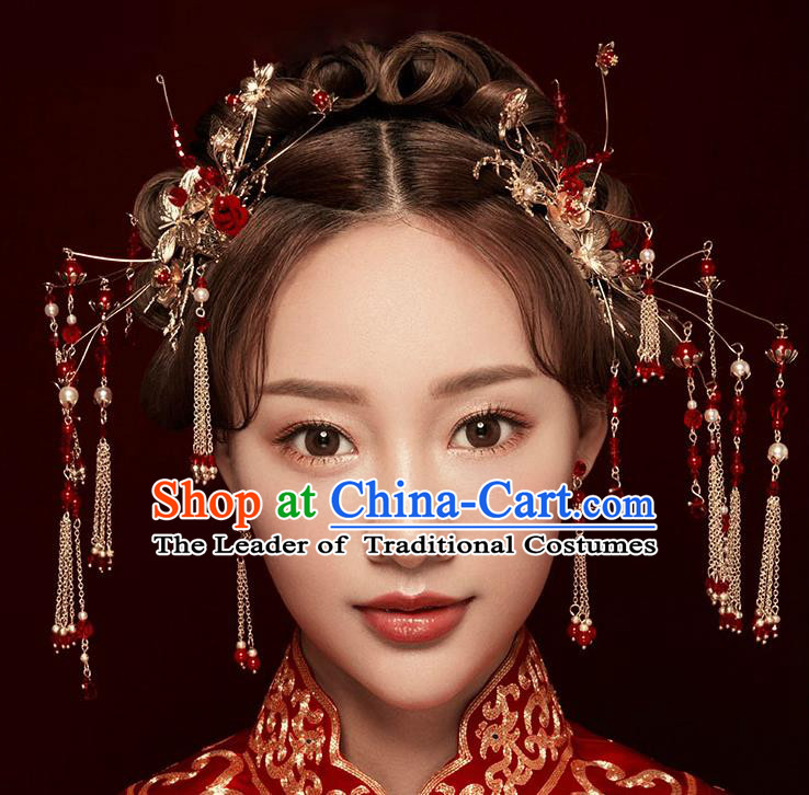 Chinese Traditional Bride Hair Jewelry Accessories Palace Xiuhe Suit Red Beads Hairpins Wedding Tassel Phoenix Coronet for Women