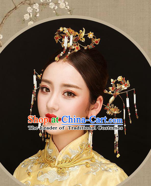 Chinese Traditional Bride Hair Jewelry Accessories Palace Xiuhe Suit Butterfly Hairpins Wedding Tassel Phoenix Coronet for Women