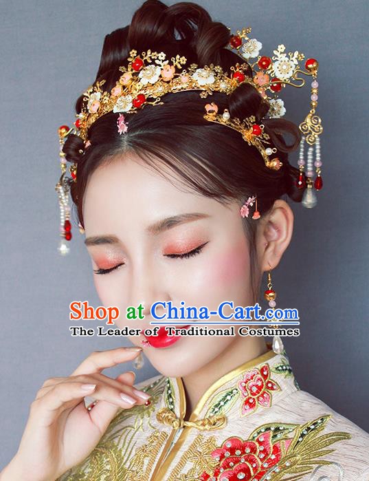 Chinese Traditional Bride Hair Jewelry Accessories Palace Xiuhe Suit Flowers Hairpins Wedding Tassel Phoenix Coronet for Women