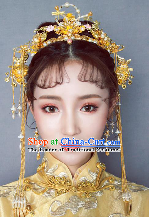 Chinese Traditional Bride Hair Jewelry Accessories Palace Xiuhe Suit Hairpins Wedding Tassel Golden Phoenix Coronet for Women