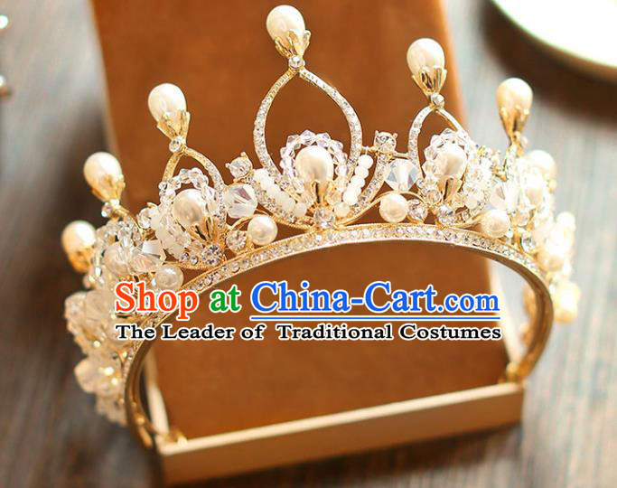 Chinese Traditional Bride Hair Accessories Baroque Princess Hair Clasp Wedding Pearls Crystal Royal Crown for Women