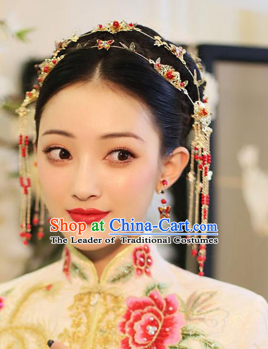 Chinese Traditional Bride Hair Jewelry Accessories Palace Xiuhe Suit Hairpins Wedding Red Butterfly Hair Clasp for Women