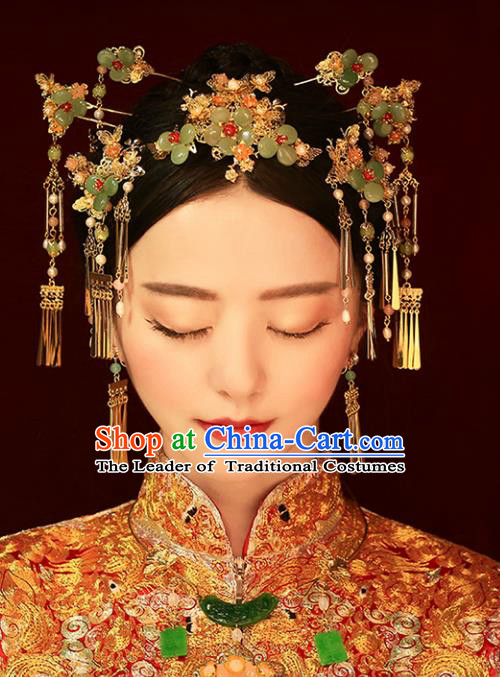 Chinese Traditional Bride Hair Jewelry Accessories Palace Xiuhe Suit Hairpins Wedding Green Flowers Phoenix Coronet for Women