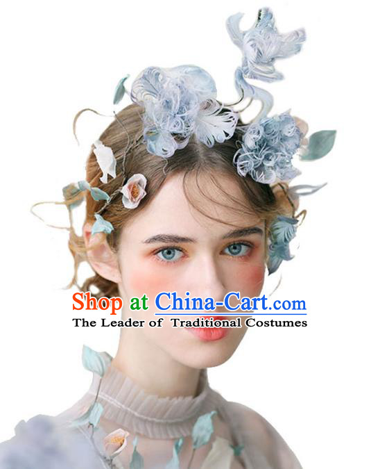 Chinese Traditional Bride Hair Jewelry Accessories Wedding Baroque Retro Blue Feather Hair Clasp for Women