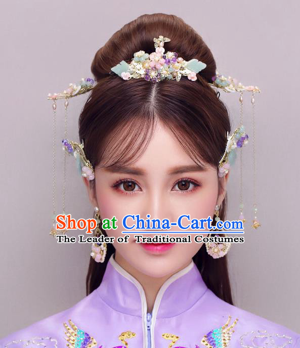 Chinese Traditional Bride Hair Jewelry Accessories Palace Xiuhe Suit Jade Phoenix Coronet Wedding Tassel Headwear for Women