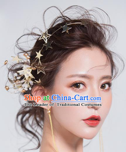 Chinese Traditional Bride Hair Jewelry Accessories Wedding Baroque Retro Star Hair Clasp for Women