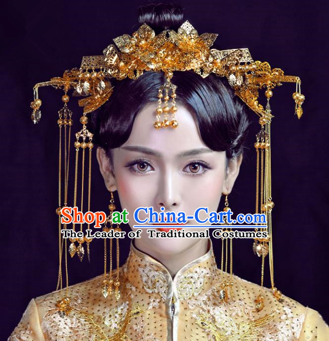 Chinese Traditional Bride Hair Jewelry Accessories Palace Xiuhe Suit Tassel Golden Phoenix Coronet Wedding Hairpins for Women