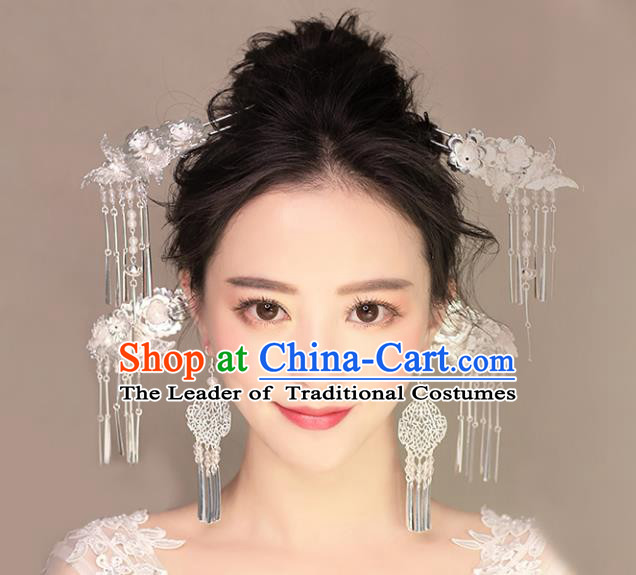 Chinese Traditional Bride Hair Jewelry Accessories Palace Xiuhe Suit Step Shake Hairpins Wedding Tassel Headwear for Women
