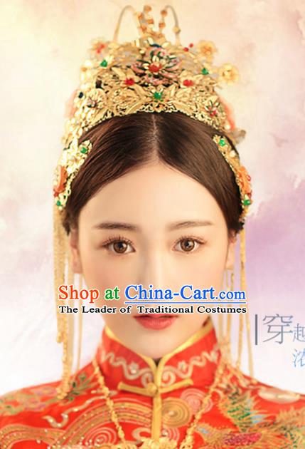 Chinese Traditional Bride Hair Jewelry Accessories Palace Xiuhe Suit Phoenix Coronet Hairpins Wedding Tassel Headwear for Women