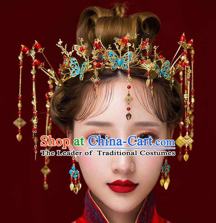 Chinese Traditional Bride Hair Jewelry Accessories Palace Xiuhe Suit Blueing Butterfly Phoenix Coronet Wedding Hairpins for Women