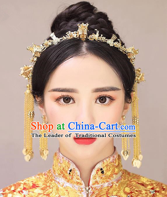 Chinese Traditional Bride Hair Accessories Palace Queen Xiuhe Suit Golden Tassel Phoenix Coronet Wedding Hairpins for Women