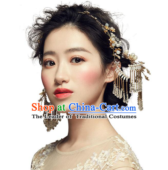Chinese Traditional Bride Hair Accessories Palace Queen Xiuhe Suit Tassel Step Shake Wedding Hairpins Complete Set for Women