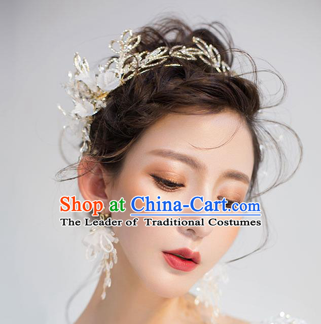Chinese Traditional Hair Accessories Baroque Wedding Bride Crystal Leaf Royal Crown for Women