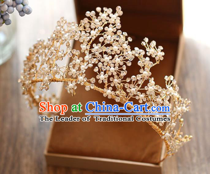 Chinese Traditional Hair Accessories Baroque Wedding Bride Crystal Beads Royal Crown for Women