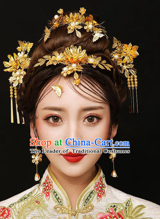 Chinese Traditional Bride Hair Accessories Palace Queen Xiuhe Suit Golden Lotus Phoenix Coronet Wedding Hairpins for Women