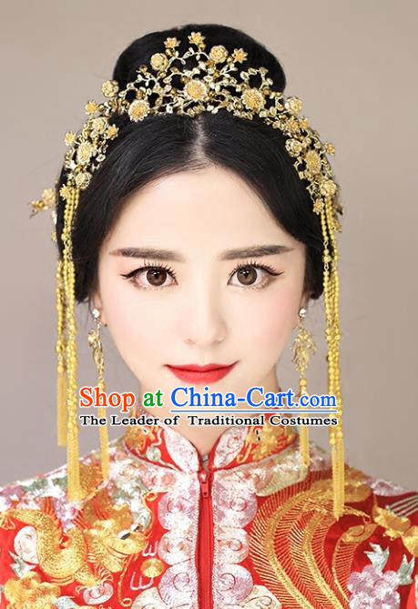Chinese Traditional Bride Hair Accessories Palace Queen Xiuhe Suit Golden Flowers Phoenix Coronet Wedding Hairpins for Women