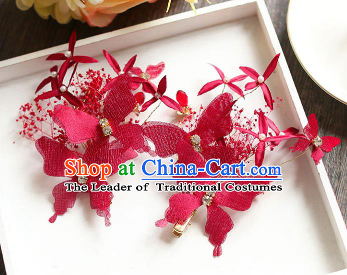 Chinese Traditional Bride Hair Jewelry Accessories Wedding Baroque Retro Red Silk Butterfly Hair Stick for Women