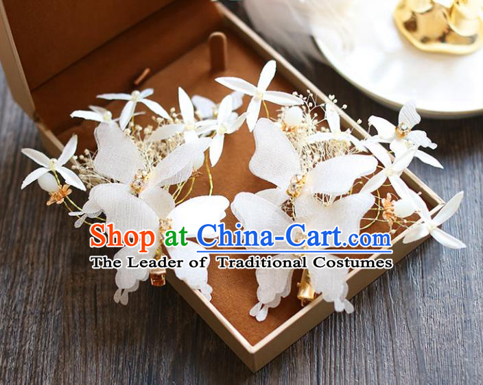 Chinese Traditional Bride Hair Jewelry Accessories Wedding Baroque Retro White Silk Butterfly Hair Stick for Women