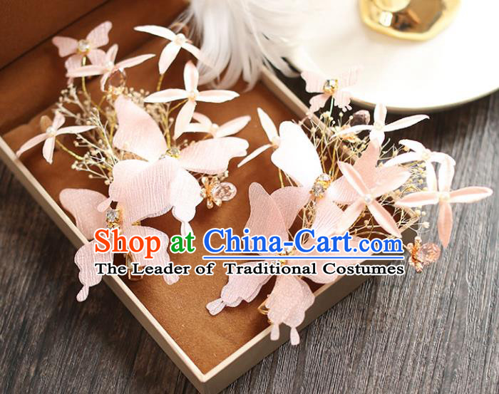 Chinese Traditional Bride Hair Jewelry Accessories Wedding Baroque Retro Pink Silk Butterfly Hair Stick for Women