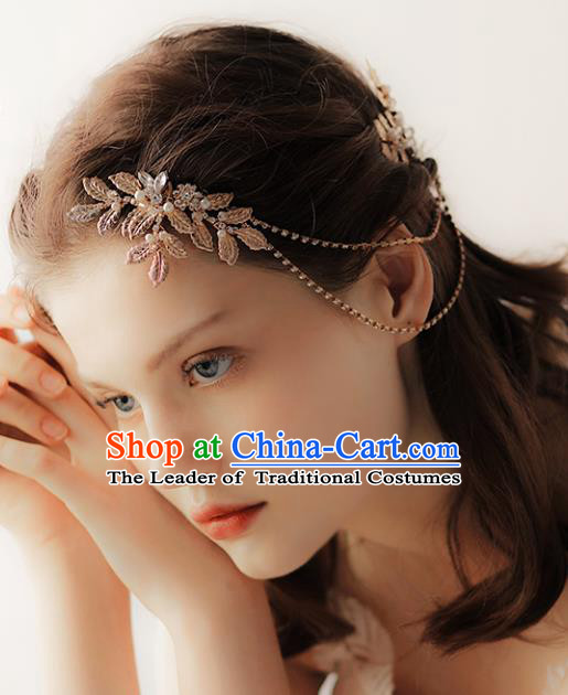 Chinese Traditional Bride Hair Jewelry Accessories Wedding Baroque Golden Hair Comb for Women