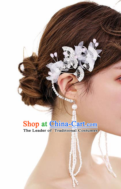 Chinese Traditional Bride Jewelry Accessories Eardrop Princess Wedding Crystal Fan Tassel Earrings for Women
