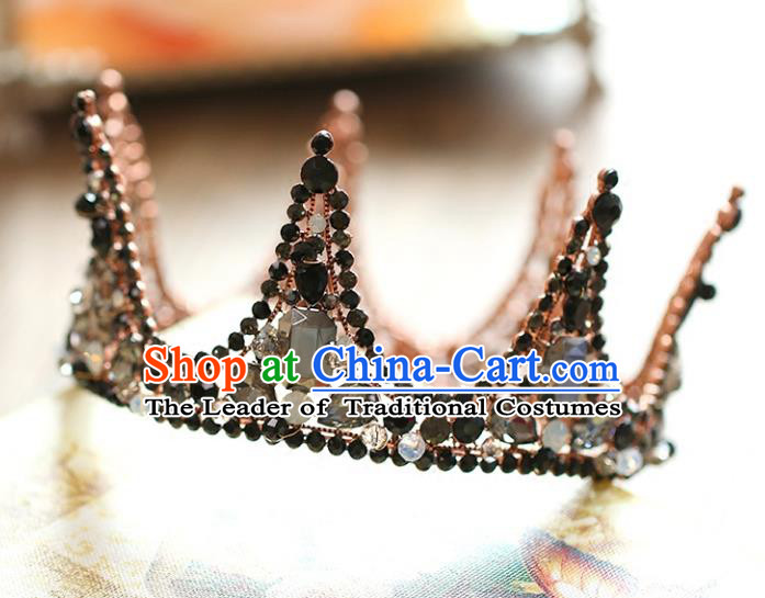 Chinese Traditional Hair Accessories Baroque Queen Hair Clasp Wedding Bride Black Crystal Round Royal Crown for Women