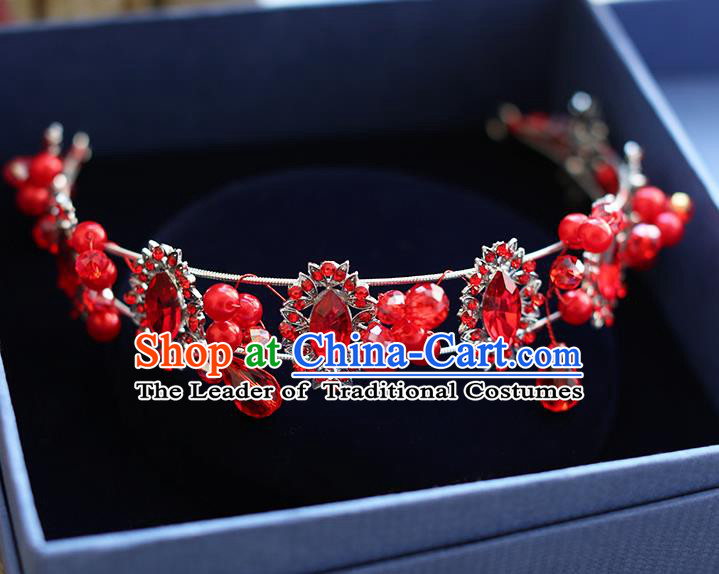 Chinese Traditional Bride Hair Jewelry Accessories Wedding Red Crystal Hair Clasp Headband for Women