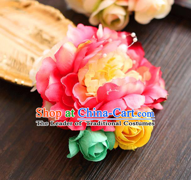 Chinese Traditional Bride Hair Accessories Wedding Red Peony Flower Hair Stick for Women