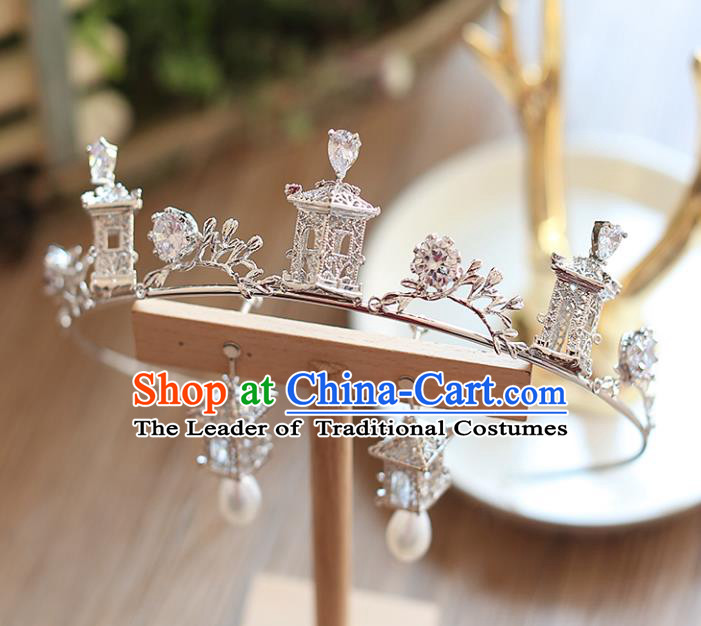 Chinese Traditional Hair Accessories Baroque Queen Hair Clasp Wedding Bride Palace Royal Crown for Women