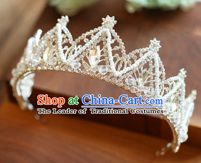 Chinese Traditional Hair Accessories Baroque Princess Hair Clasp Wedding Bride Palace Crystal Royal Crown for Women