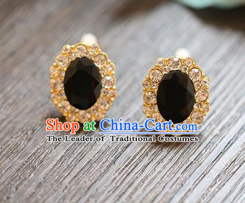 Chinese Traditional Bride Jewelry Accessories Earrings Princess Wedding Black Crystal Eardrop for Women