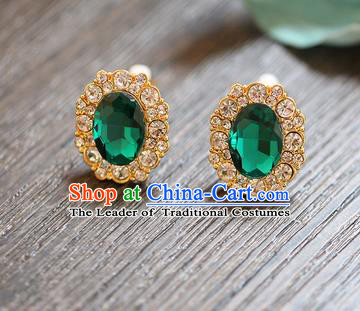 Chinese Traditional Bride Jewelry Accessories Earrings Princess Wedding Green Crystal Eardrop for Women