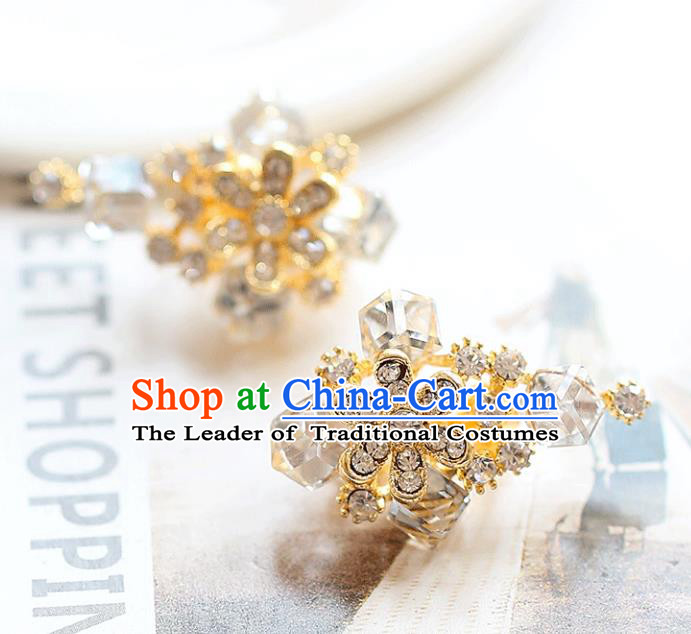 Chinese Traditional Bride Jewelry Accessories Earrings Princess Wedding Crystal Flowers Eardrop for Women