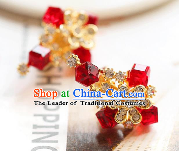 Chinese Traditional Bride Jewelry Accessories Earrings Princess Wedding Red Crystal Flowers Eardrop for Women
