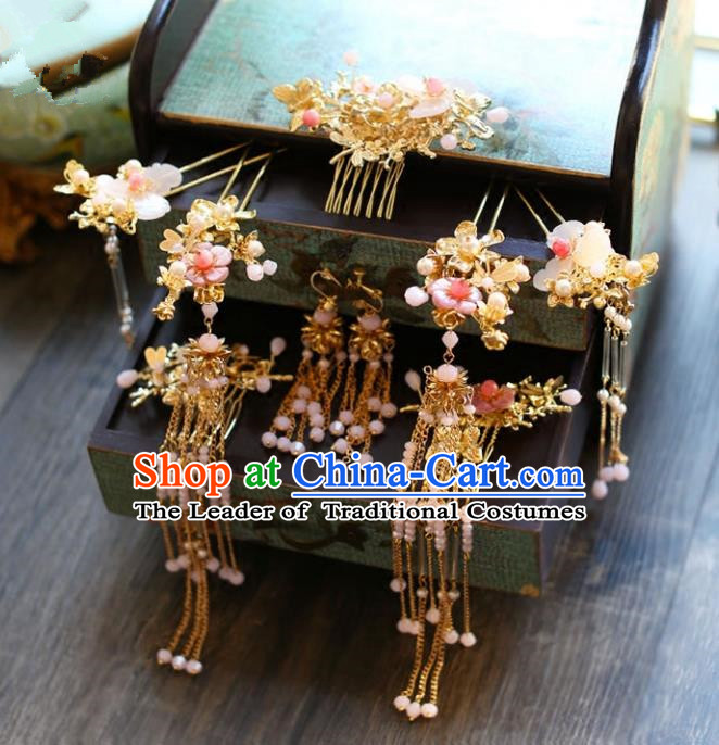 Chinese Traditional Bride Hair Accessories Headwear Xiuhe Suit Palace Pink Flowers Step Shake Wedding Hairpins for Women