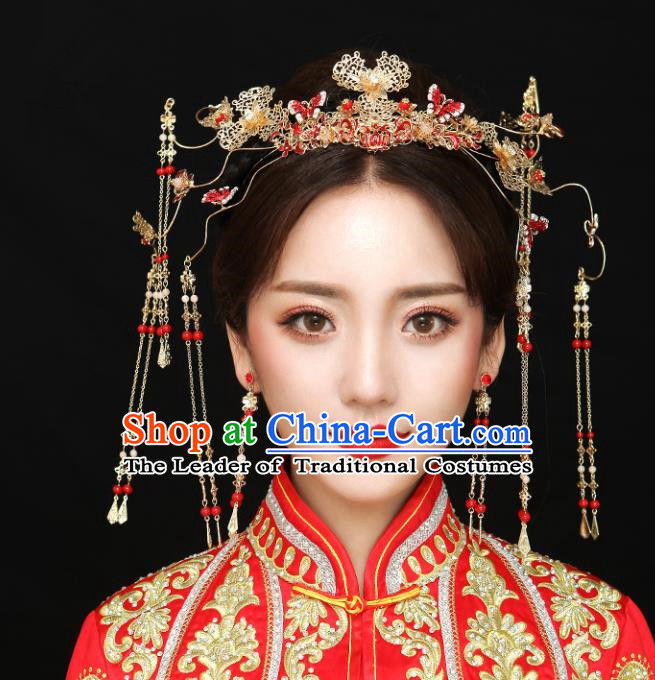 Chinese Traditional Bride Hair Accessories Headwear Xiuhe Suit Palace Red Butterfly Phoenix Coronet Wedding Hairpins for Women