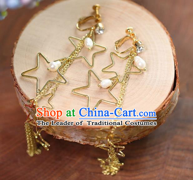 Chinese Traditional Bride Jewelry Accessories Eardrop Princess Wedding Golden Star Tassel Earrings for Women