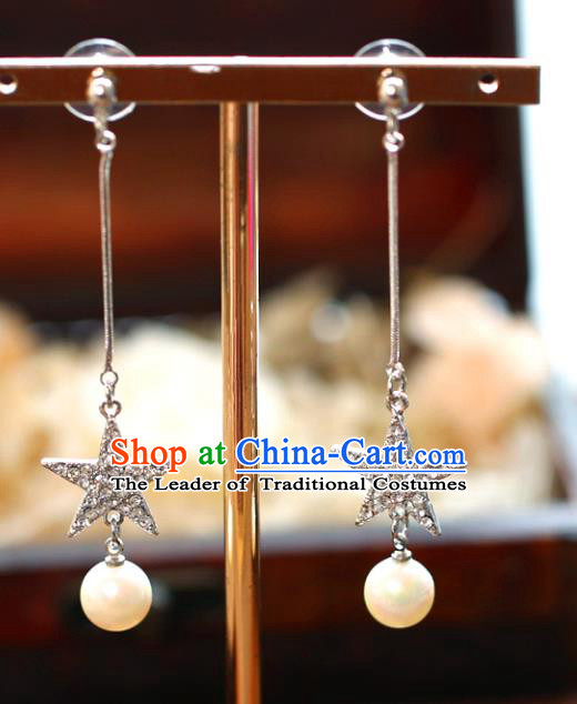 Chinese Traditional Bride Jewelry Accessories Eardrop Princess Wedding Crystal Star Tassel Earrings for Women
