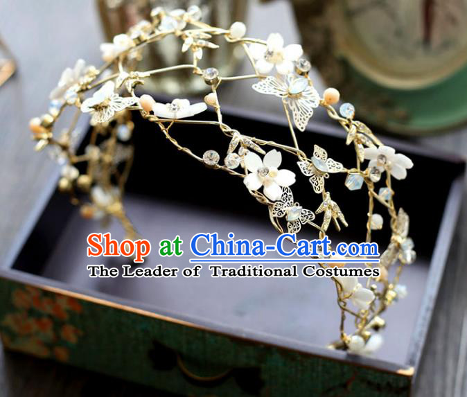 Chinese Traditional Wedding Hair Accessories Baroque Princess Hair Clasp Bride Palace Butterfly Opal Royal Crown for Women