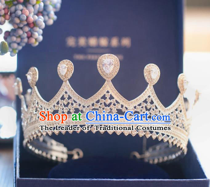 Chinese Traditional Wedding Hair Accessories Baroque Princess Hair Clasp Bride Palace Zircon Royal Crown for Women