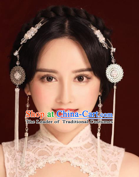 Chinese Traditional Bride Hair Accessories Xiuhe Suit Step Shake Wedding Hairpins Tassel Hair Clasp for Women